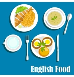 Traditional national english cuisine dishes vector