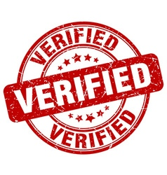 verified red grunge round vintage rubber stamp vector image