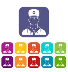 Veterinarian icons set vector