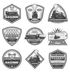 vintage monochrome locomotive labels set vector image