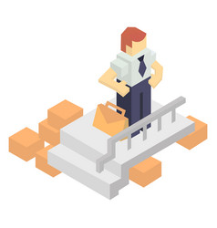 Warehouse manager with delivery boxes vector