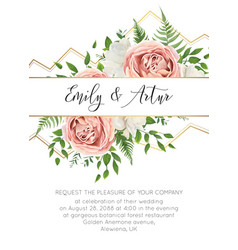 Wedding floral modern invite invtation card design vector