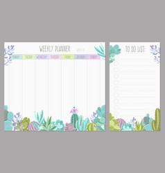 weekly planner design vector image