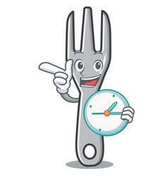 with clock fork character cartoon style vector image vector image