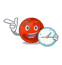With clock mars planet character cartoon vector