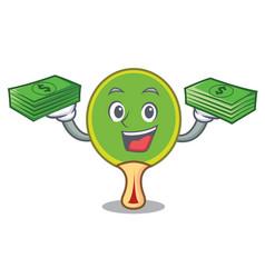 With money bag ping pong racket mascot cartoon vector