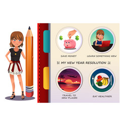 Woman writing about her new year resolution vector