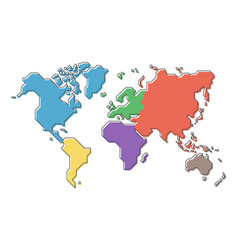 World map with multicolor continent and modern vector