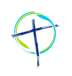 World ministry brush abstract cross symbol design vector