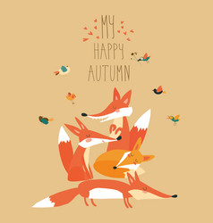cute foxes with birds vector image vector image