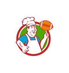 Fat Chef Cook Twirling Football Circle Retro vector image