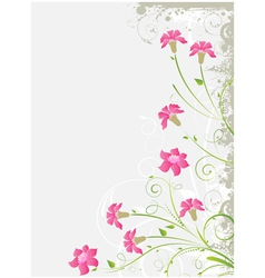 Grunge floral gray background vector image