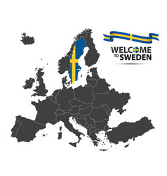 map of europe with the state of sweden vector image vector image