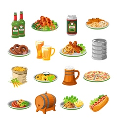 Oktoberfest Beer Food Flat Icons Set vector image