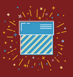 shining gift box icon with stripes in flat style vector image vector image