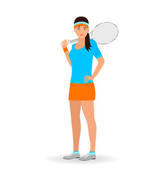 sport people concept tennis woman with racket vector image vector image