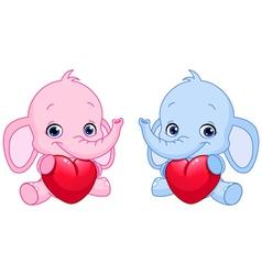 baby elephants holding hearts vector image vector image