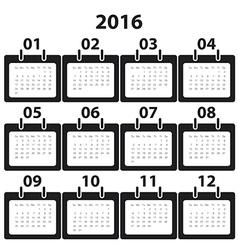 Calender 2016 minimal design004 vector