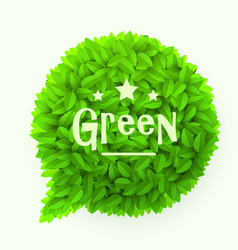 Green leaves circle speech bubble isolated on vector