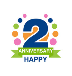 2nd anniversary colored logo design happy holiday vector image vector image