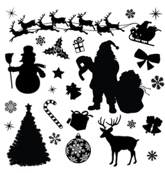 Christmas Collection Black Silhouettes vector image vector image