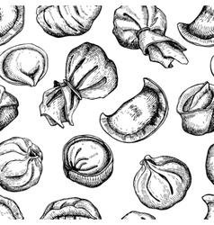 dumplings pattern Vintage sketch vector image vector image
