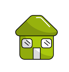 Green house with door roof and windows icon vector