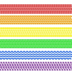 Set of detailed tire prints a rainbow vector image vector image