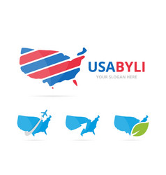 set of usa logo combination america and country vector image vector image