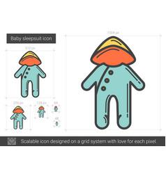 Baby sleepsuit line icon vector