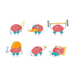 cartoon brain activities set vector image