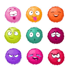 Funny colorful cartoon fluffy ball fuzzy vector