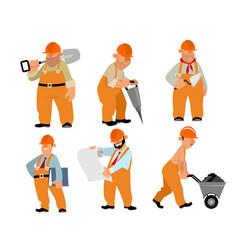 six builders set vector image