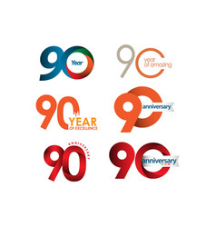 90 year anniversary set template design vector