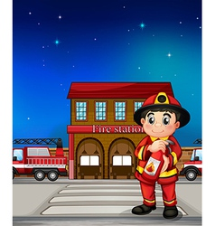 A fireman with an extinguisher vector