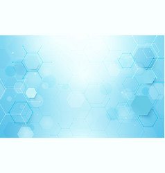 Abstract blue hexagons shape and lines background vector