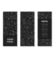 Asian food menu template main dishes appetizers vector