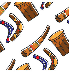 Australian symbols boomerangs horn and tom tom vector