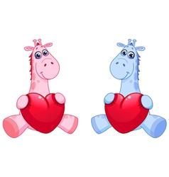 bagiraffes holding hearts vector image