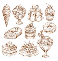 bakery shop sketch icons of pastry desserts vector image