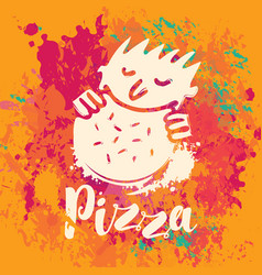 banner for pizza on the abstract background vector image