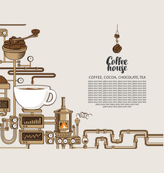 Banner with a conveyor coffee production vector