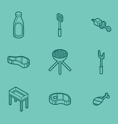 Bbq color outline isometric icons vector