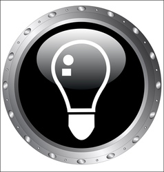 Black Button Icons - LightBulb Icon on a web vector