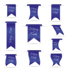 blue hanging curved ribbon banners set for merry vector image
