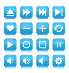 Blue media sign rounded square icon web button vector