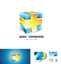 Blue orange cube abstract 3d logo design vector image