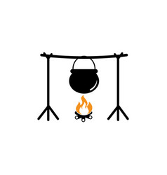 boiling pot icon design template isolated vector image