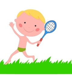 Boy running on the grass with the racket vector