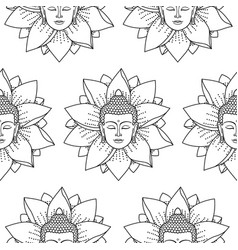 Buddha and lotus seamless pattern vector